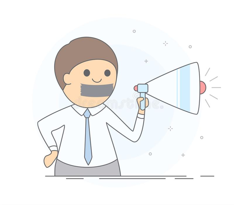 Concept of advertising blocking. Stop spam. stock illustration