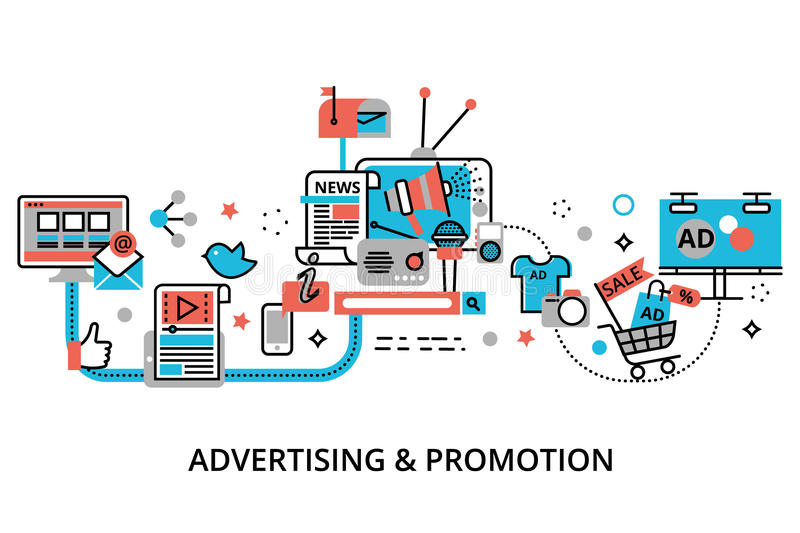 Concept of advertising, marketing and promotion process. Modern flat thin line design vector illustration, concept of advertising, marketing and promotion royalty free illustration