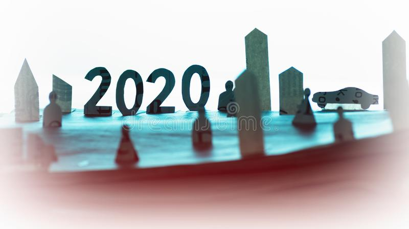 Concept of advertising and promotion 2020. stock photos