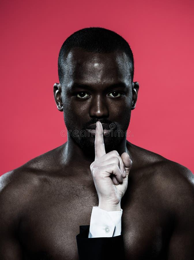 Concept africain de liberté de parole d'homme image stock