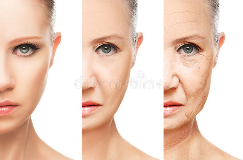 Concept of aging and skin care isolated. Concept of aging and skin care. face of young woman and an old woman with wrinkles isolated