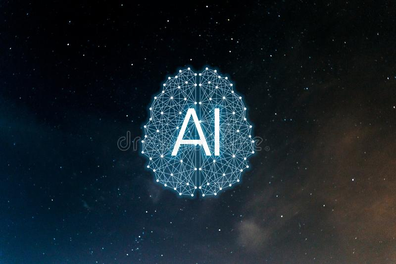 Concept AIArtificial Intelligence. Neural networks, machine and deep learning vector illustration