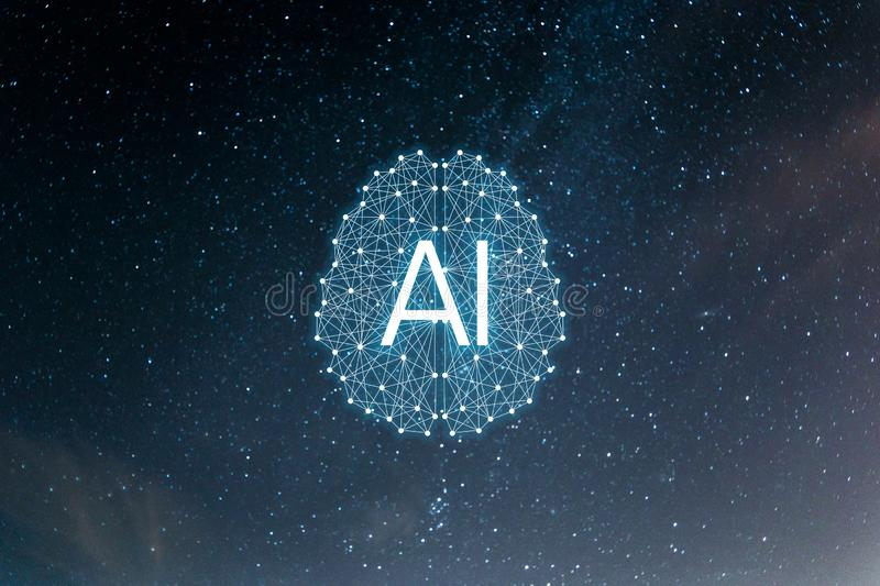 Concept AIArtificial Intelligence. Neural networks, machine and deep learning royalty free illustration