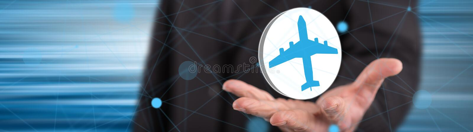 Concept of air transport. Air transport concept above the hand of a man in background royalty free stock photo