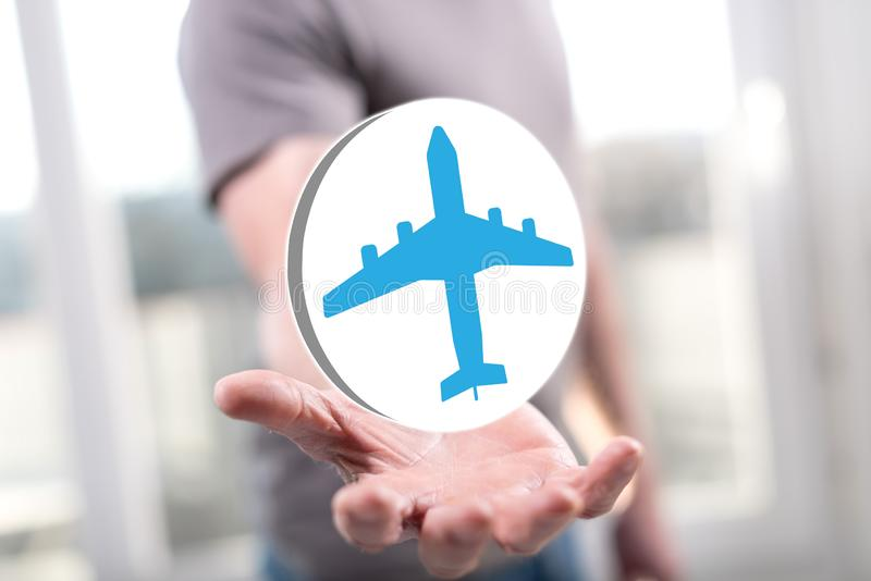 Concept of air transport. Air transport concept above the hand of a man in background royalty free stock photos