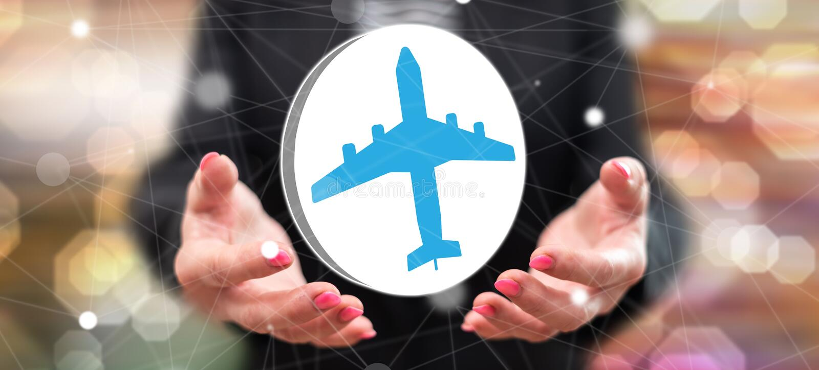 Concept of air transport. Air transport concept above the hands of a woman in background stock image
