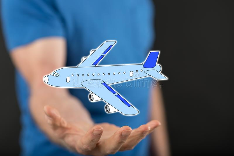 Concept of air transport. Air transport concept above the hand of a man in background stock images