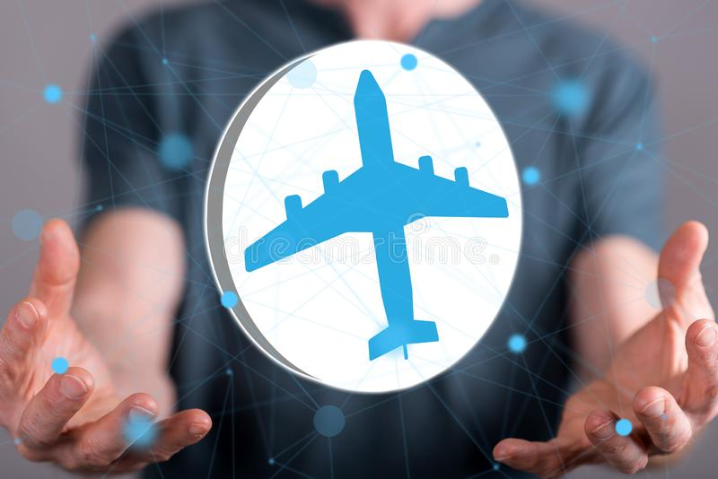 Concept of air transport. Air transport concept between hands of a man in background stock images