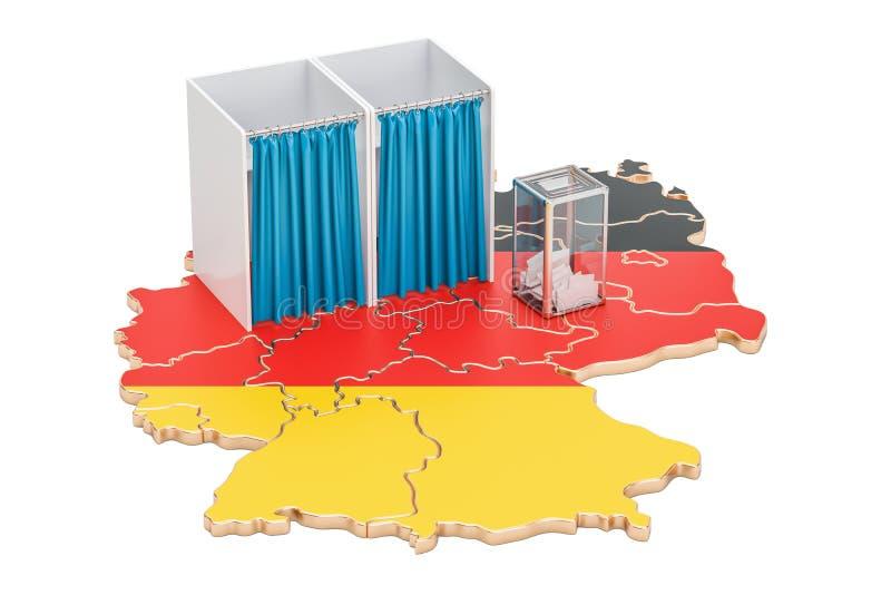 Concept allemand d'élection, urne avec des cabines de vote sur la carte de illustration de vecteur