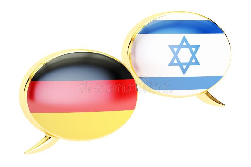 Concept Allemand-israélien de dialogue, rendu 3D illustration stock