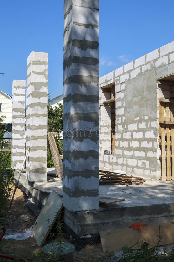 Concept of alteration of construction at customer`s request. Load-bearing columns made of foam block are taken out of  perimeter. Of foundation by 10 royalty free stock images