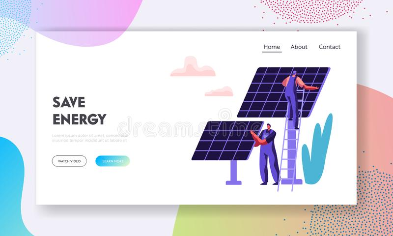 Concept alternatif d'énergie propre avec les panneaux solaires et le calibre de Character Landing Page d'ingénieur Sources d'éner illustration stock