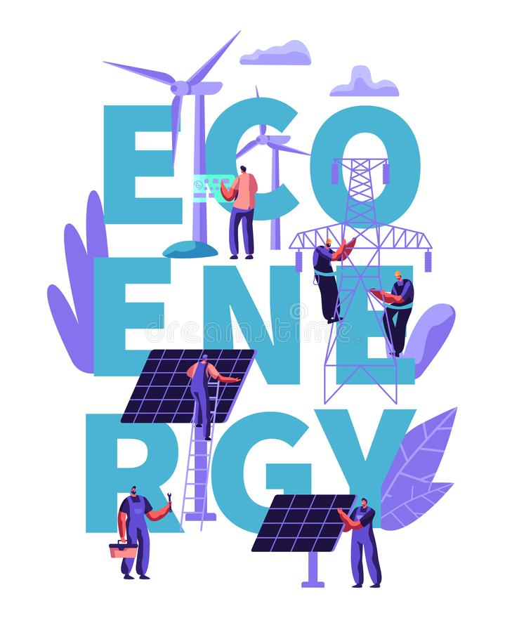 Concept alternatif vert d'énergie propre d'Eco, écologie, environnement Les gens aux turbines de moulin de vent, panneaux solaire illustration stock