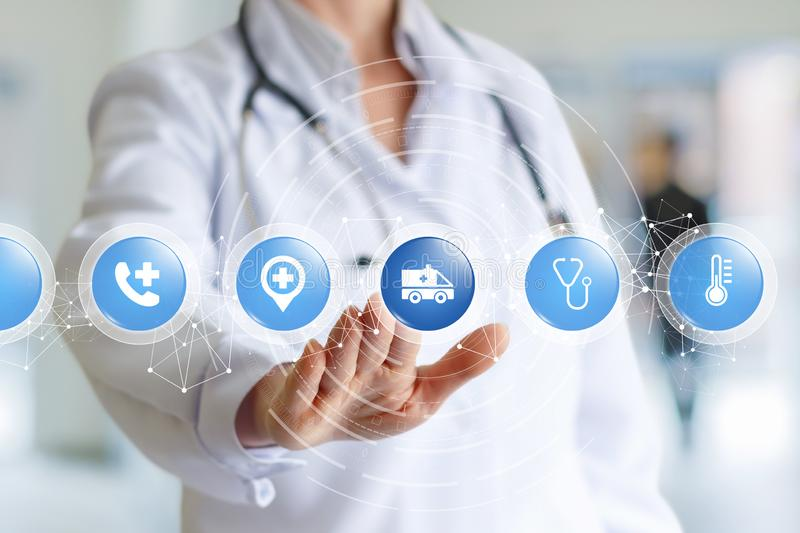 The concept is the ambulance. A doctor with a stethoscope on her neck is touching a screen with a digital chain of small spheres with medical icons inside. The stock images