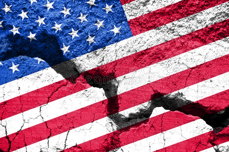Concept, american flag on cracked background. Conceptual image, american flag on cracked background stock images