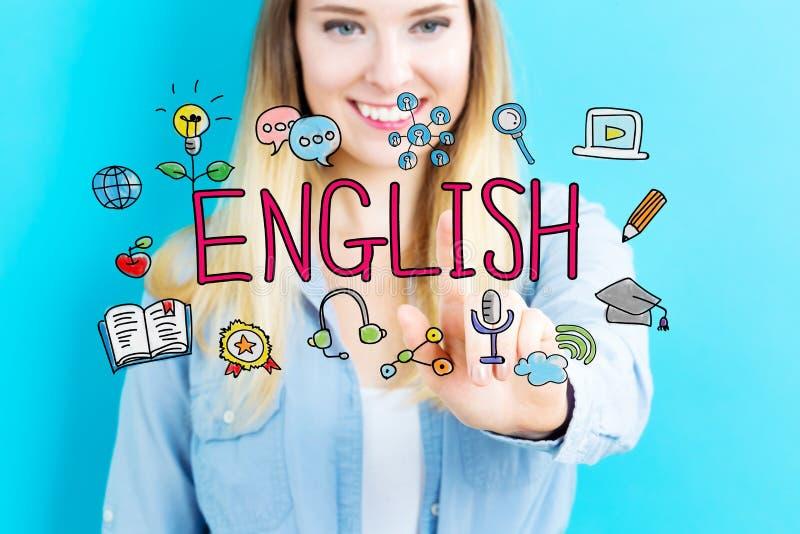 Concept anglais avec la jeune femme images stock