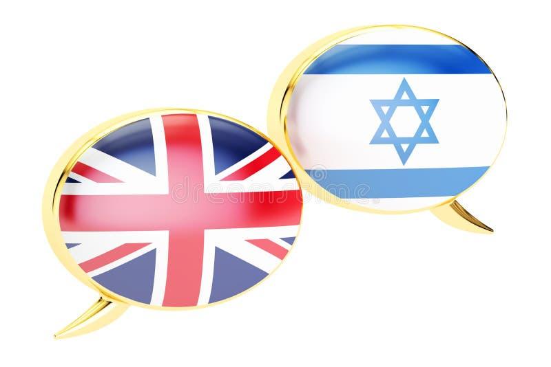Concept Anglais-israélien de traduction, rendu 3D illustration de vecteur