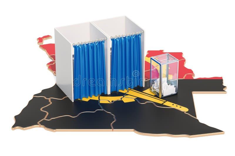Concept angolais d'élection, urne avec des cabines de vote sur la carte o illustration libre de droits