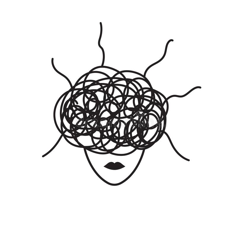 Concept of anxiety. Anxiety symbol, woman in stress, concept of anxiety, upset, depressed woman, vector black line illustration royalty free illustration
