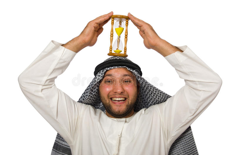 Concept with arab man isolated. On white royalty free stock photo