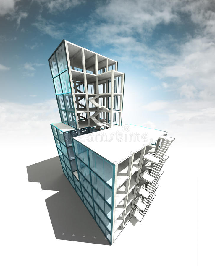 Concept of architectural building plan with sky render. Illustration royalty free illustration