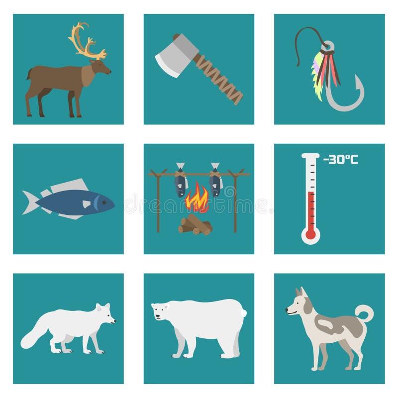 Concept arctique du nord de style de symboles d'état de vecteur de l'Alaska de l'Amérique de faune extérieure géographique nation illustration de vecteur