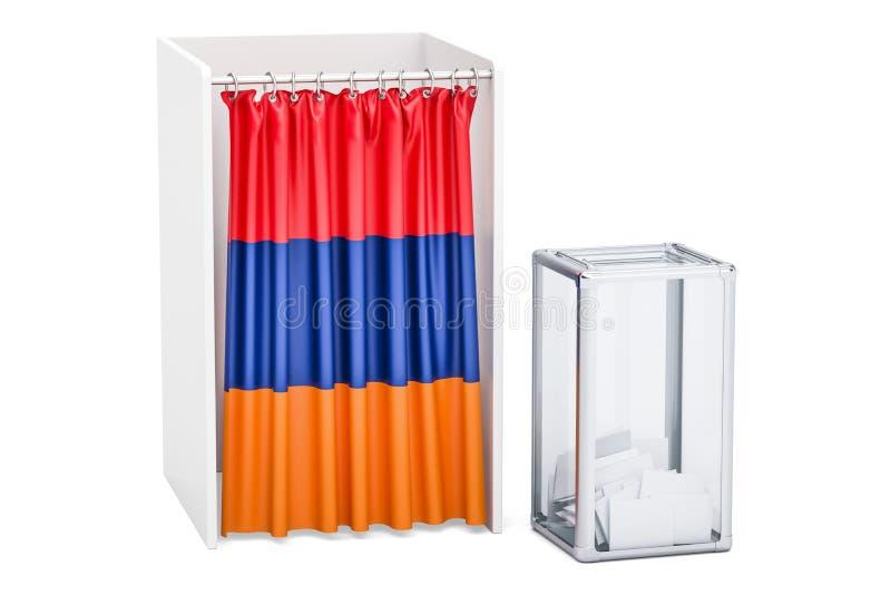 Concept arménien d'élection, urne et cabines de vote avec le fla illustration de vecteur