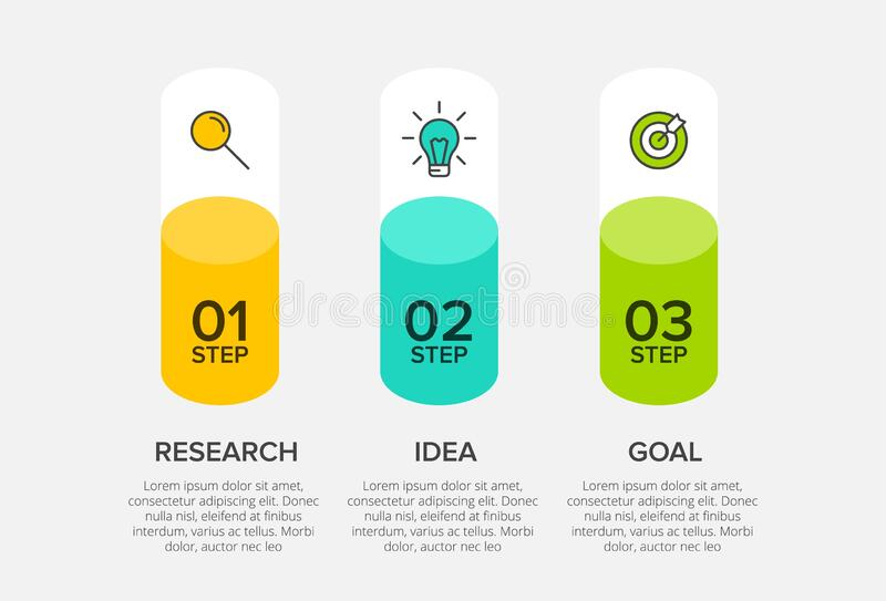 Concept of arrow business model with 3 successive steps. Three colorful graphic elements. Timeline design for brochure. Presentation. Infographic design layout stock illustration