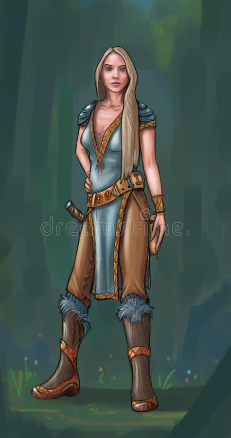 Concept Art Fantasy Illustration of Beautiful Young Woman Warrior. Concept art digital painting or illustration of fantasy beautiful young blonde woman warrior royalty free illustration