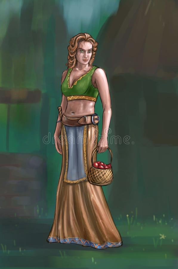 Concept Art Fantasy Illustration of Beautiful Young Blonde Village Woman or Villager or Countrywoman. Concept art digital painting or illustration of fantasy royalty free illustration