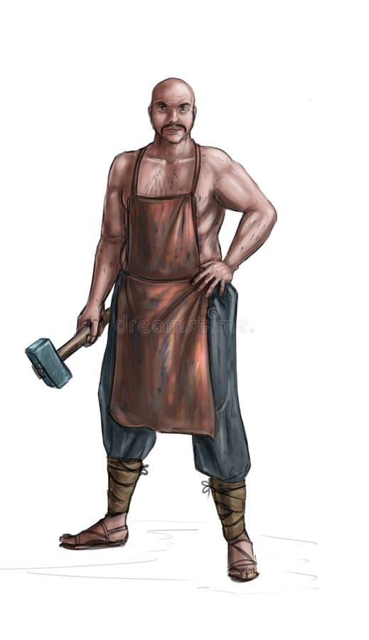 Concept Art Fantasy Illustration of Blacksmith or Smith With Hammer vector illustration