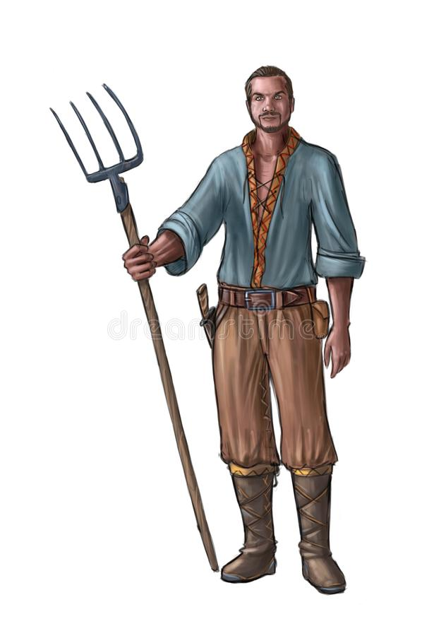 Concept Art Fantasy Illustration of Young Villager, Countryman, Farmer or Village Man With Fork royalty free illustration