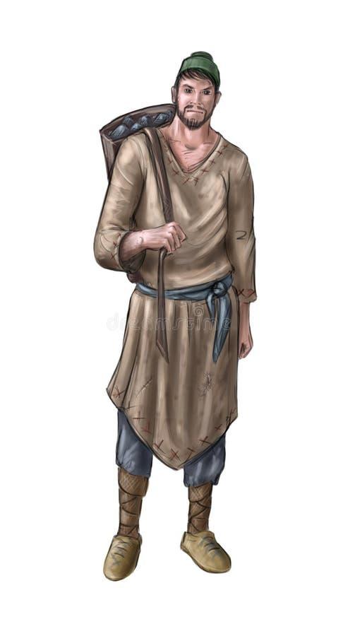 Concept Art Fantasy Illustration of Villager, Countryman, Miner or Village Man With Back Basket or Pack vector illustration