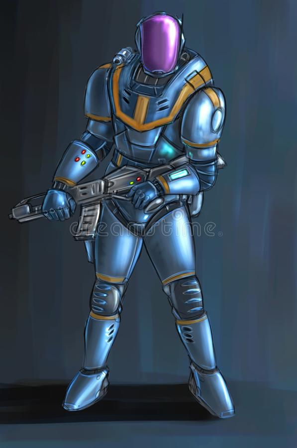 Concept Art Science Fiction Illustration of Futuristic Soldier Character in Armor or Suit and With Rifle. Concept art digital painting or illustration of science stock illustration