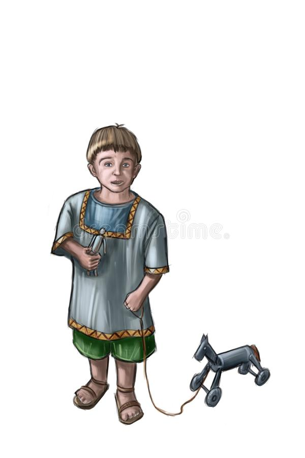 Concept Art Fantasy Illustration of Small Boy With Wooden Toy Horse vector illustration