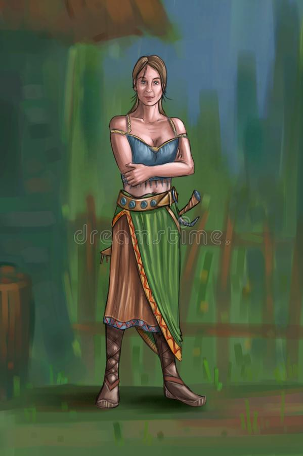 Concept Art Fantasy Illustration of Beautiful Young Village Woman or Villager or Countrywoman. Concept art digital painting or illustration of fantasy beautiful royalty free illustration