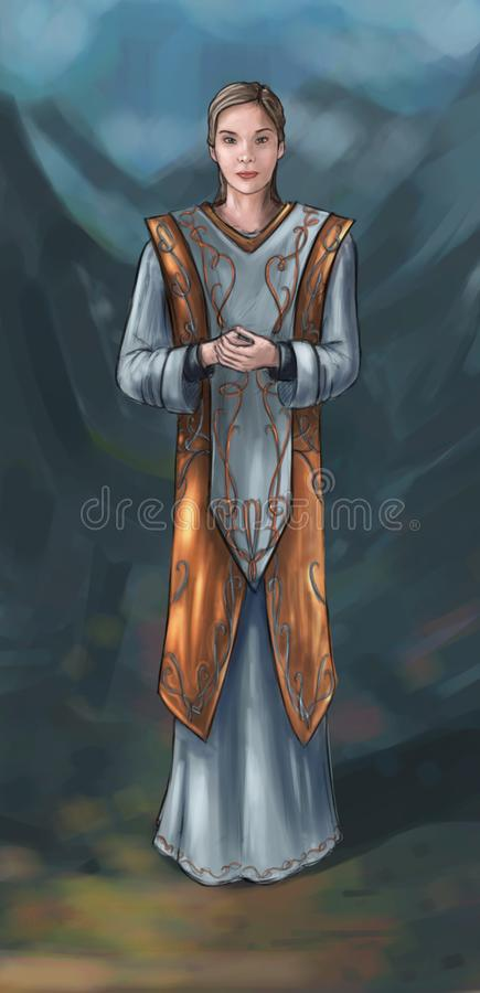 Concept Art Fantasy Illustration of Beautiful Young Woman Priestess, Sorceress or Witch. Concept art digital painting or illustration of fantasy beautiful young stock illustration