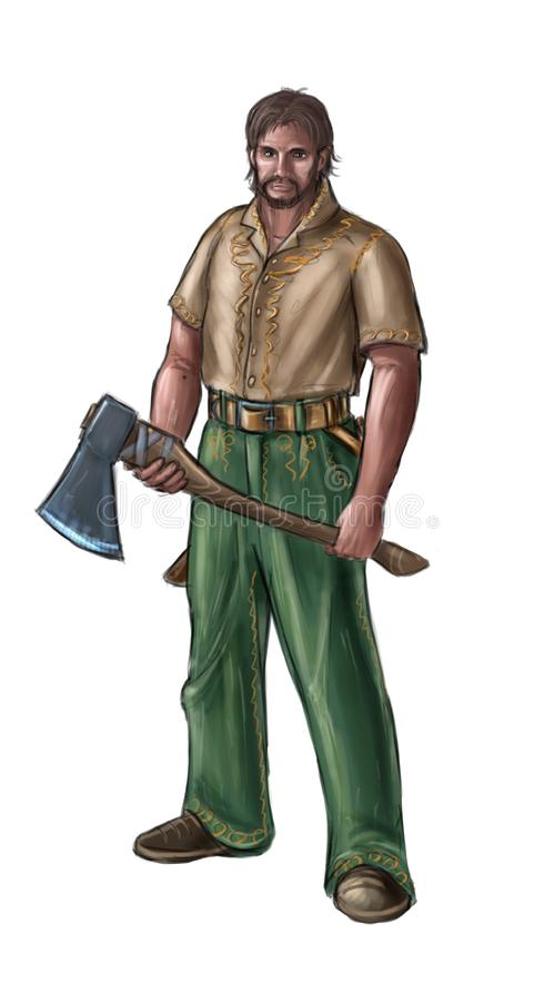 Concept Art Fantasy Illustration of Lumberjack or Villager, Countryman or Village Man With Ax stock illustration