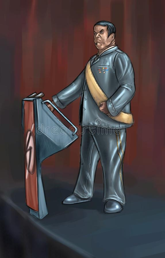 Concept Art Illustration Dictatorpoliticus Making een Toespraak op Podium stock illustratie