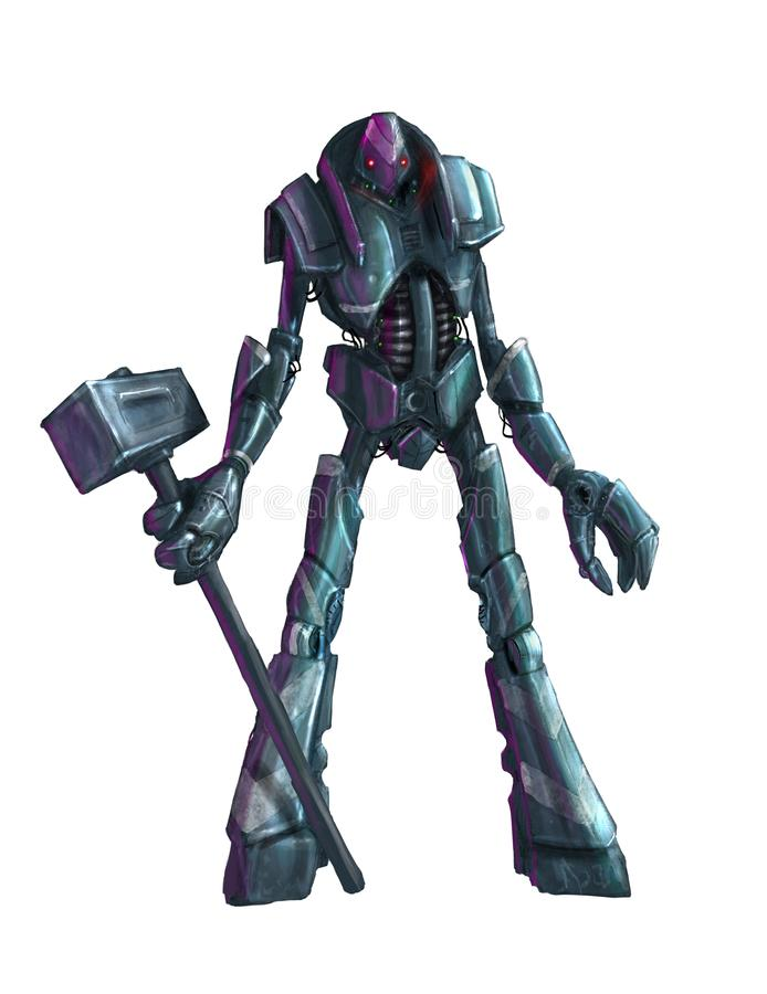 Concept Art Painting of Isolated Humanoid Robot With Hammer royalty free illustration
