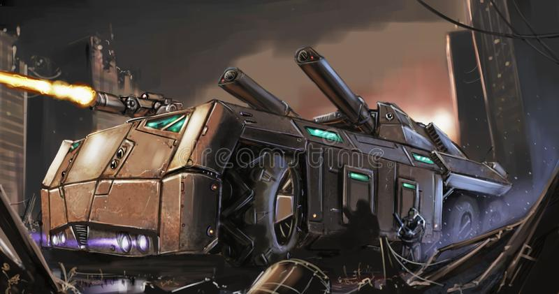Concept Art Painting of Post-Apocalyptic Armored Vehicle or Tank Fighting in City Ruins royalty free stock photo