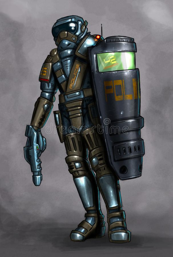 Concept Art Science Fiction Painting of Policeman in Armor With Shield and Gun stock illustration