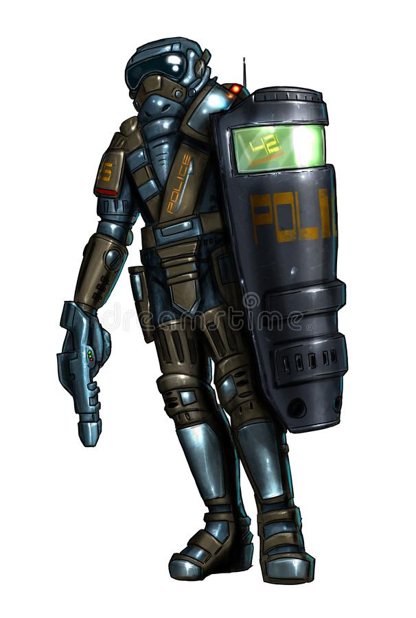 Concept Art Science Fiction Painting of Policeman in Armor With Shield and Gun. Concept art digital painting or illustration of science fiction or future royalty free illustration