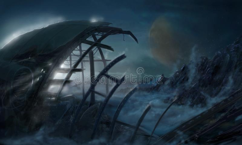 Concept Art Science Fiction Painting of Spaceship Wreck on Alien Planet. Concept art digital fantasy dreamlike painting or illustration of space ship wreck stock illustration
