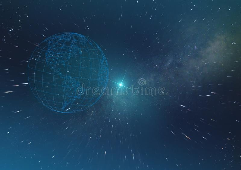 Concept of artificial intelligence, future technologies on the planet Earth digitalization of the world in the infinite space. Of the universe royalty free stock images