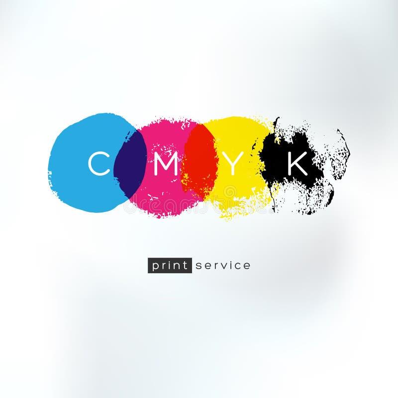 Concept artistique de logo de service d'impression de CMYK illustration de vecteur