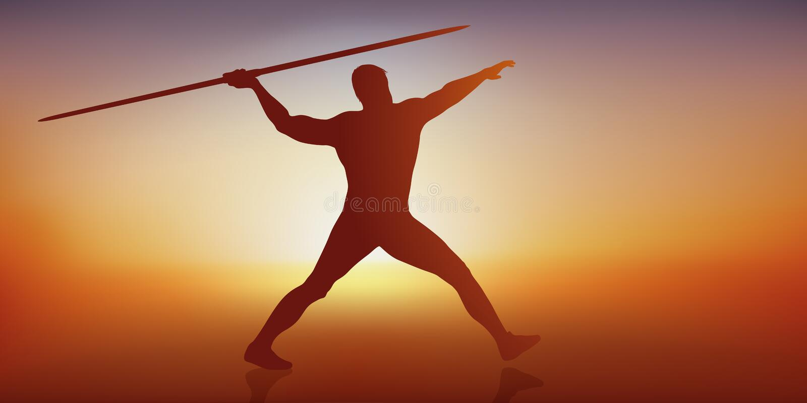 The concept of athlete performance with a javelin thrower. Concept of the athlete's performance with the gesture of an athlete throwing his javelin to beat a vector illustration