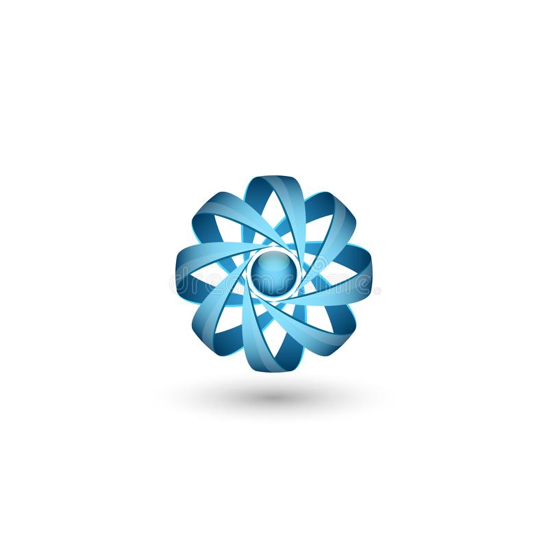 Concept atomique physique d'abrégé sur logo des particules 3D, icône de molécule de volume pour l'énergie nucléaire illustration libre de droits