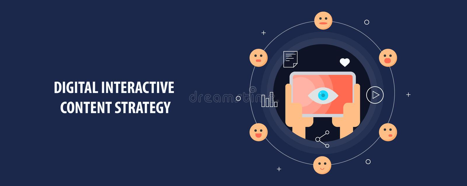 Digital interactive content marketing strategy - user engaged with interactive media. Flat design vector banner. stock illustration