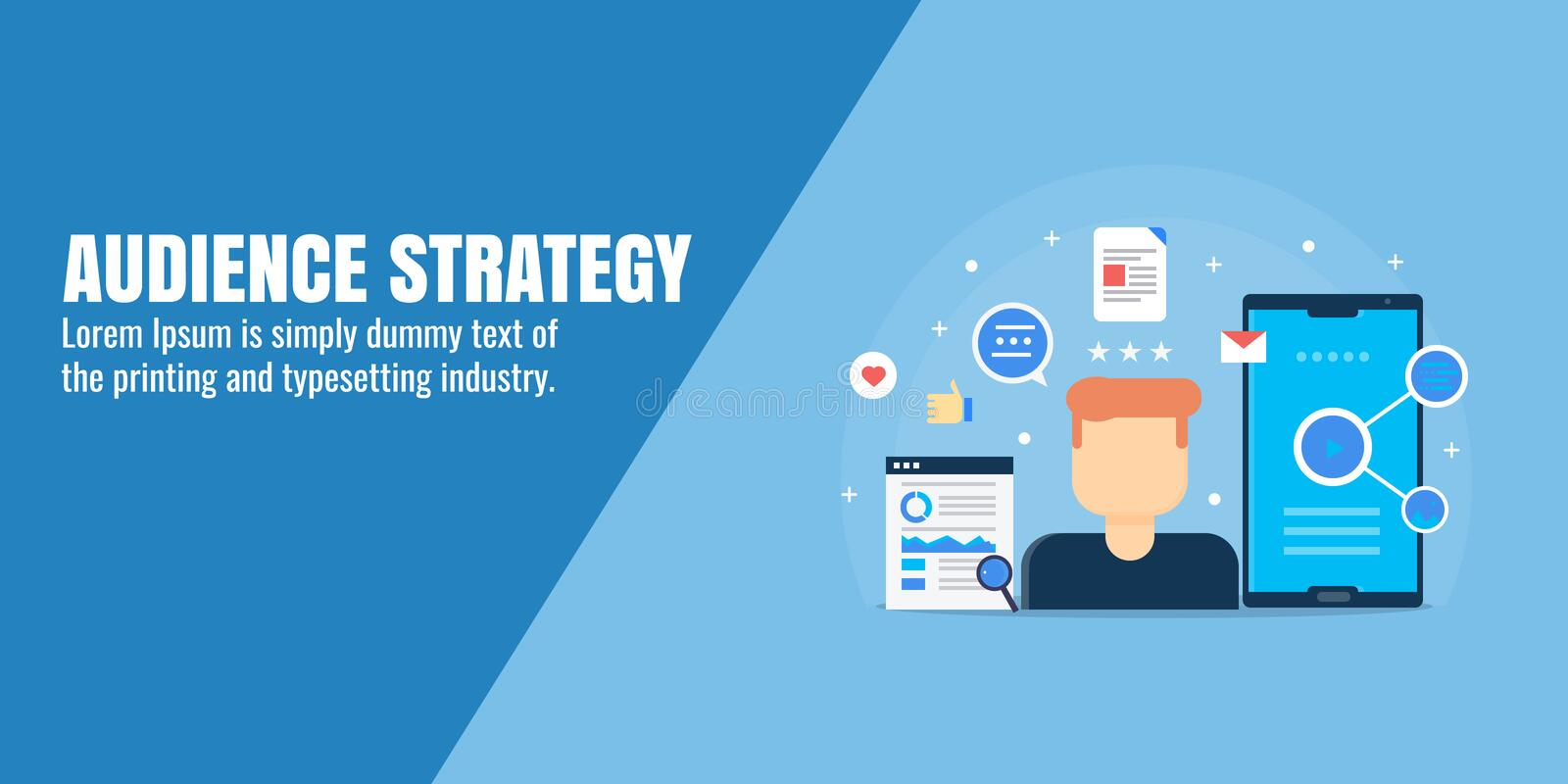 Audience building strategy - social media audience, network marketing, community, customer relationship. Flat design vector banner. Concept of audience on social royalty free illustration